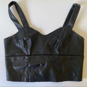 Dynamite Black Faux Leather Bra Top Bralette Small